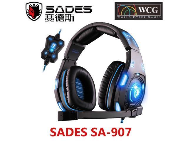 SADES SA-907 Circumaural PC Gaming Headset with Microphone Volume Control Black/Blue