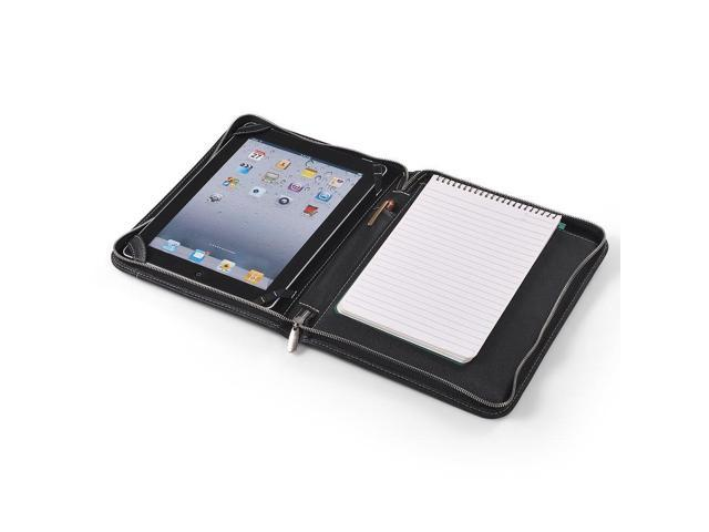 Zip-Close Leather Folio Case With A5 Notepad Space for iPad 4/iPad 3/iPad 2