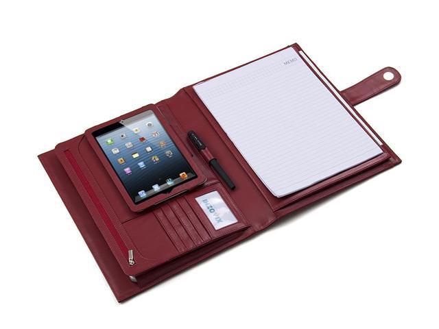 Deluxe Leather Folio Case, Fits iPad Mini and Letter Paper, Dark Red