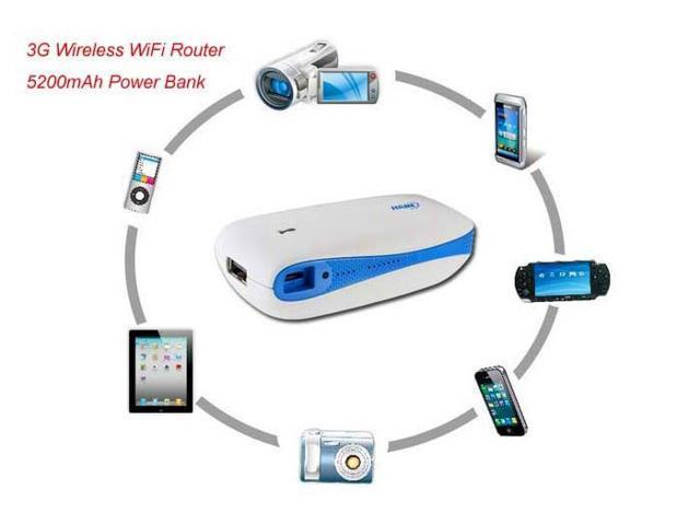 Blue Wireless Router of 3G Mobile Power H-G100 3G/4G Wireless WiFi Router + 5200mAh Power Bank With RJ45 USB Port 3G Wireless Hotspot