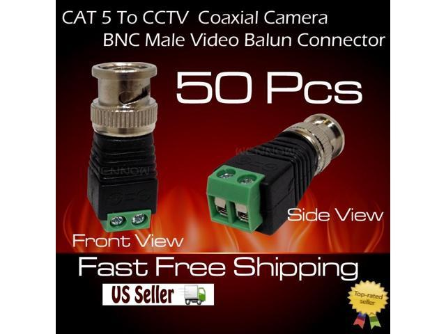 WennoW 50 pcs Coax CAT5 To CCTV Coaxial Camera BNC Male Video Balun Connector
