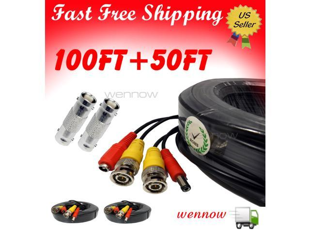 WennoW Black 100ft+50ft Power & Video Cable for Security CCTV use/Zmodo/Swann/Qsee