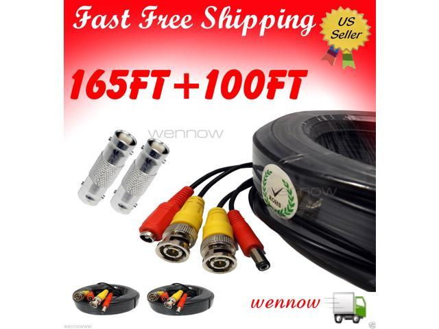 WennoW Black 165ft+100ft Power & Video Cable for Security CCTV use/Zmodo/Swann/Qsee