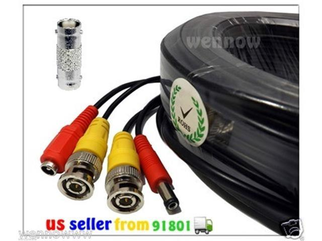 WennoW Black 100ft Power & Video Cable for Security Labs Security CCTV Kit SLM464 DVR