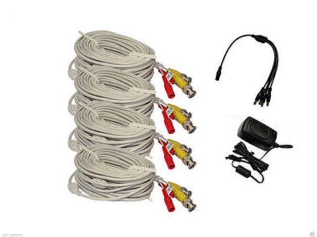 wennow 4 packs White 60ft BNC Cable & 3A Power adaptor for Security CCTV use / Zmodo /Swann /Qsee