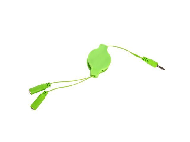 Retractable 3.2' Headphone Splitter (3.5mm Male to 2 3.5 mm Female) Cable Compatible with All iPhone Devices (Green)