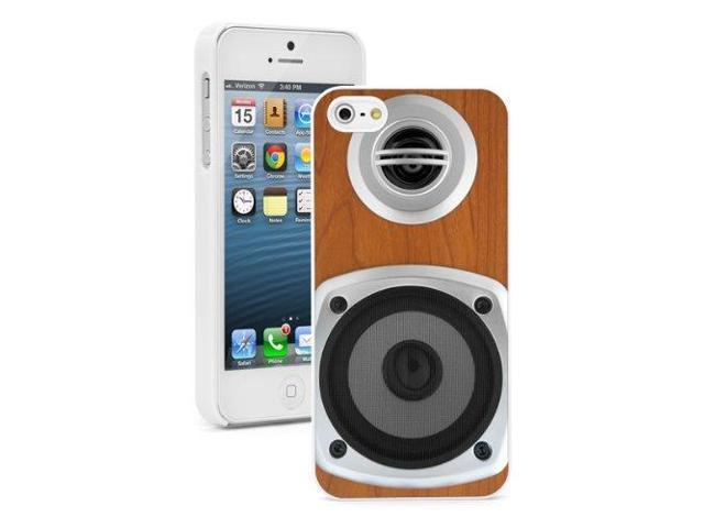 Apple iPhone 5 White 5W648 Hard Back Case Cover Color Wood Framed Speakers