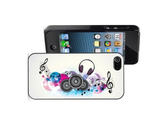 Apple iPhone 5 Black 5B578 Hard Back Case Cover Colorful Background Music Speakers Headphones