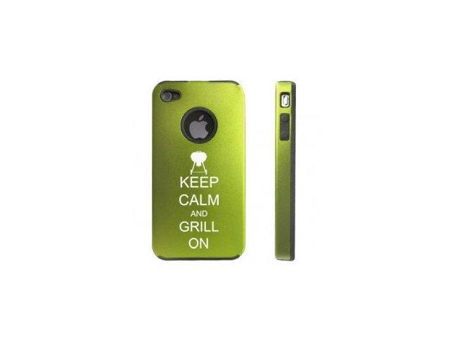 Apple iPhone 4 4S Green D5559 Aluminum & Silicone Case Cover Keep Calm and Grill On BBQ