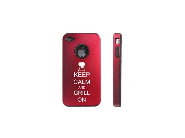 Apple iPhone 4 4S Red D5563 Aluminum & Silicone Case Cover Keep Calm and Grill On BBQ