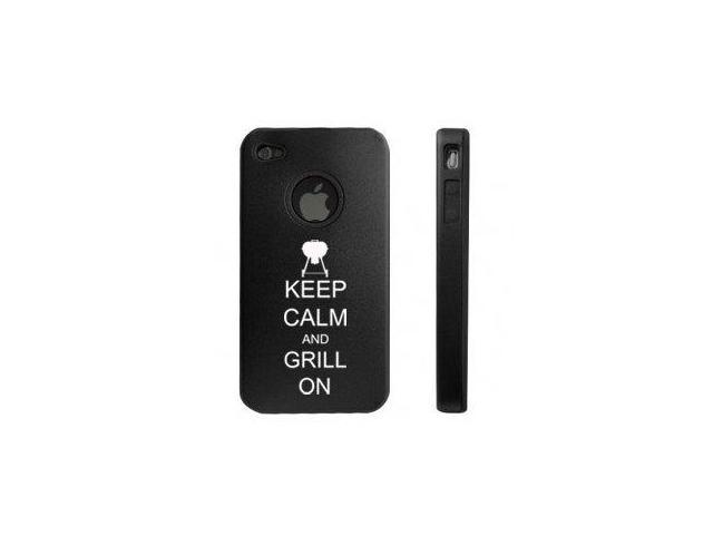 Apple iPhone 4 4S Black D5555 Aluminum & Silicone Case Cover Keep Calm and Grill On BBQ