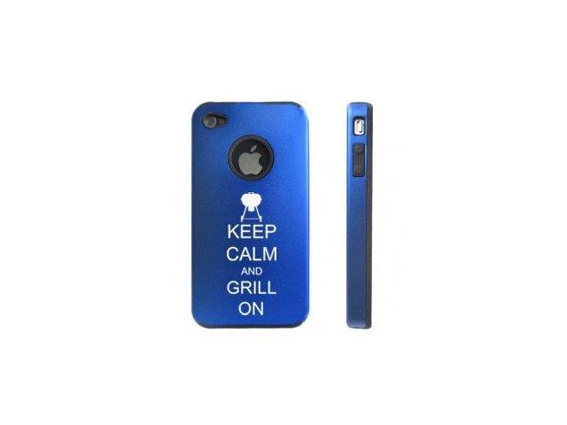 Apple iPhone 4 4S Blue D5556 Aluminum & Silicone Case Cover Keep Calm and Grill On BBQ