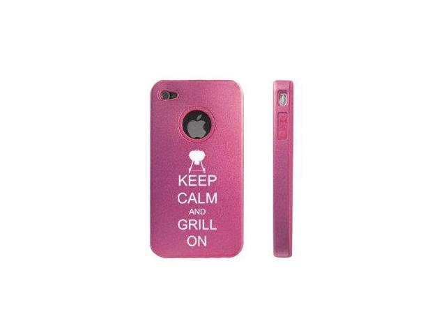 Apple iPhone 4 4S Pink D5561 Aluminum & Silicone Case Cover Keep Calm and Grill On BBQ
