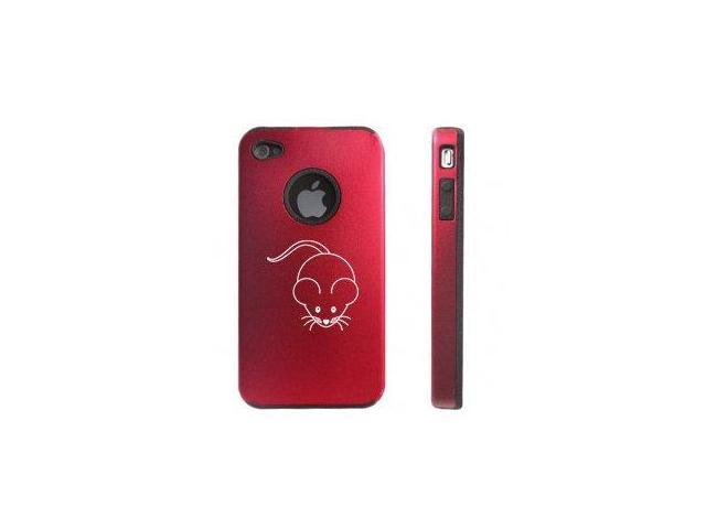 Apple iPhone 4 4S 4G Red D588 Aluminum & Silicone Case Cute Mouse