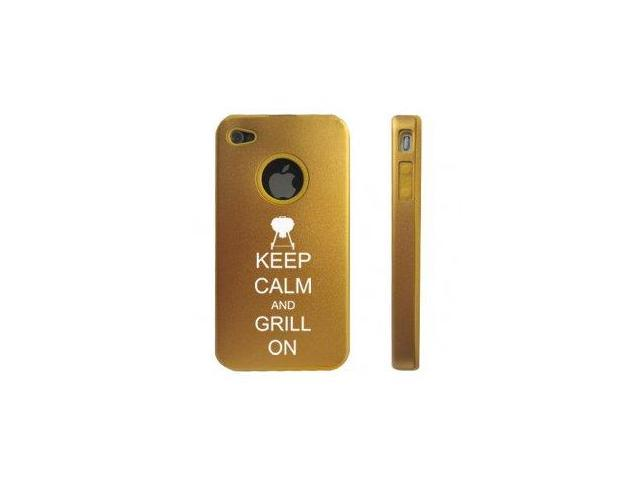 Apple iPhone 4 4S Gold D5557 Aluminum & Silicone Case Cover Keep Calm and Grill On BBQ