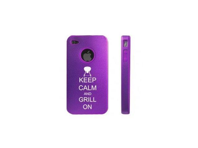 Apple iPhone 4 4S Purple D5562 Aluminum & Silicone Case Cover Keep Calm and Grill On BBQ