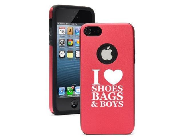 Apple iPhone 5c Aluminum Silicone Dual Layer Rugged Hard Case Cover I Love Shoes Bags Boys (Red)