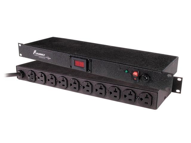 Geist - Spc104-1025 - 10-outlet Current Monitoring Surge Suppressor 19 Rackmount 20amp Black