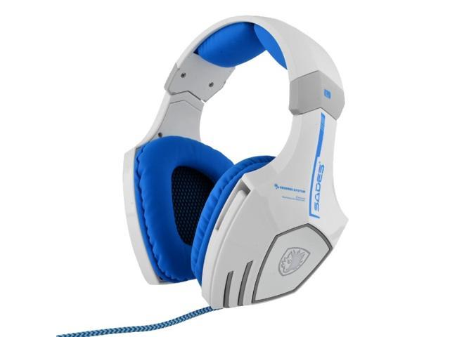 SADES A60 7.1 Surround Sound Professional USB Vibration Wired Mic Gaming Headset White + Blue