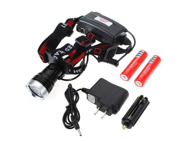 CREE XML T6 1800LM LED Rechargeable AAA Headlamp Headlight+18650 Battery+Charger