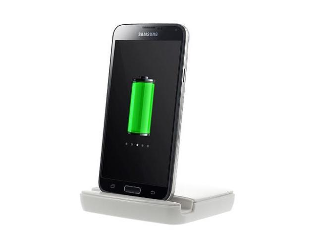 Smays Syncing and Charger Charging Docking Station with Battery Dock for Samsung Galaxy S5 G900 (White)