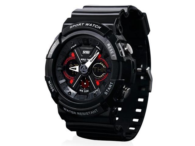 Skmei 0966 5ATM Water Resistant Analog & Digital Sports Watch with Plastic Strap (Black)