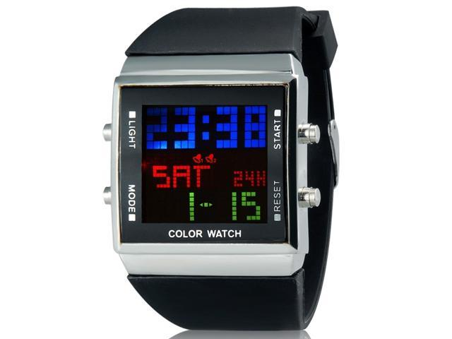 889 Stylish Unisex Rectangular Digital Watch with LCD Scrolling Screen, Backlight & Silicone Strap (Black) M.