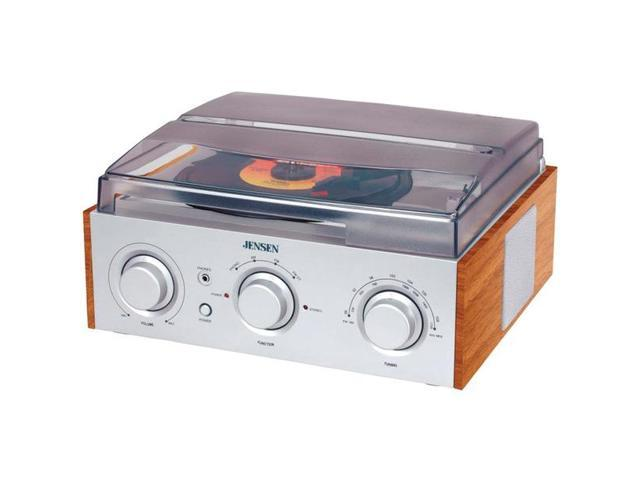JENSEN JTA-220 STEREO 3-SPEED TURNTABLE WITH AM/FM RECEIVER & 2 BUILT-IN SPEAKERS