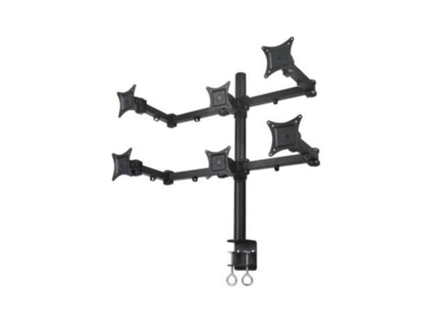 """Mount-It! MI-756 Articulating Dual Arm Computer Monitor Desk Mount for 6 monitors up to 21"""""""
