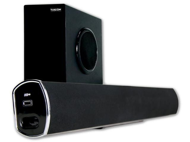 Turcom TS-404 2.1 Channel Home Theater Surround Sound Bluetooth Soundbar with Wireless Subwoofer - 160W Total Power Output
