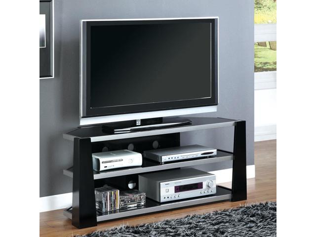 Monarch Specialties I 2010 Glossy Black / Silver Metal 48 Inch TV Console