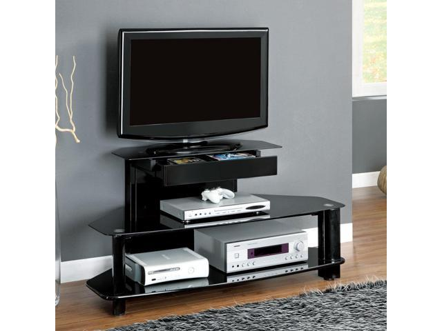 Monarch Specialties I 2000 Glossy Black Wood / Metal 48 Inch TV Console