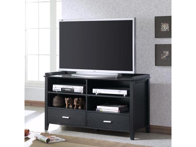 Monarch Specialties I 1915 Black Grain Veneer 48 Inch TV Console