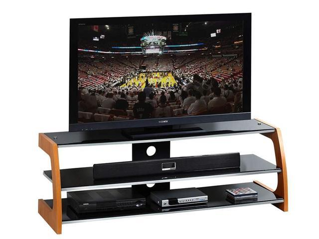 Techni Mobili Black Tempered Glass & Wood 65 Inch TV Stand in Black