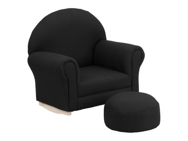 Flash Furniture Kids Black Fabric Rocker Chair And Footrest