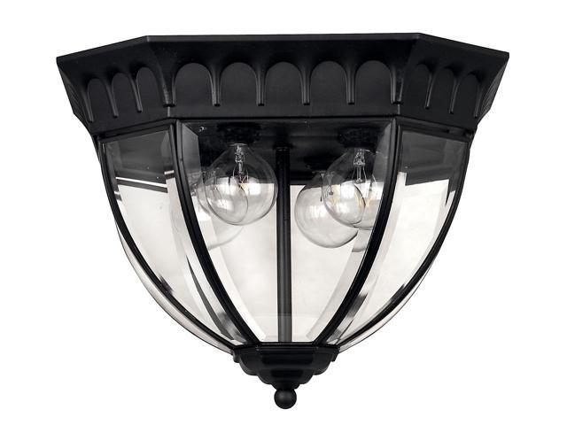 Black 3 Light Outdoor Flush Mount Ceiling Fixture from the Camelot Collection
