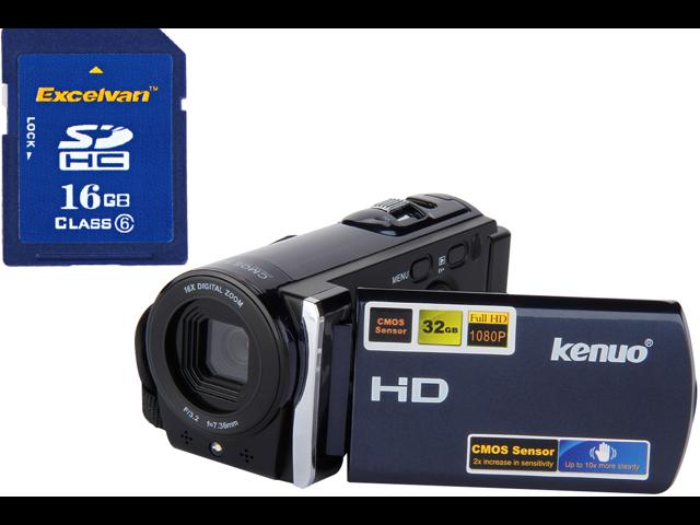KENUO Full HD 1080P 5.0Mega Pixels CMOS Sensor 16MP Camcorder Digital Video Camera 3.0 TFT LCD 16x Zoom DV Anti-Shake blue + 100% real capacity ...