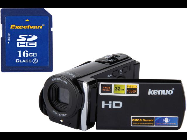 KENUO Full HD 1080P 5.0Mega Pixels CMOS Sensor 16MP Camcorder Digital Video Camera 3.0 TFT LCD 16x Zoom DV Anti-Shake black + 100% real capacity ...