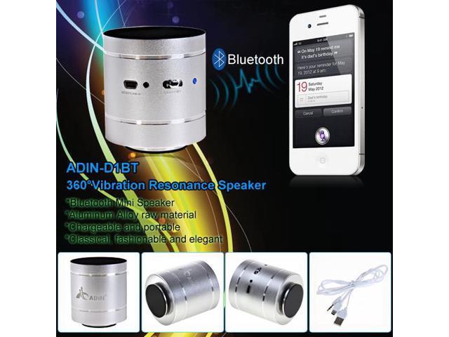 ADIN Bluetooth 360° Omni-Directional Vibration Resonance Household Mini Music Speaker Silver