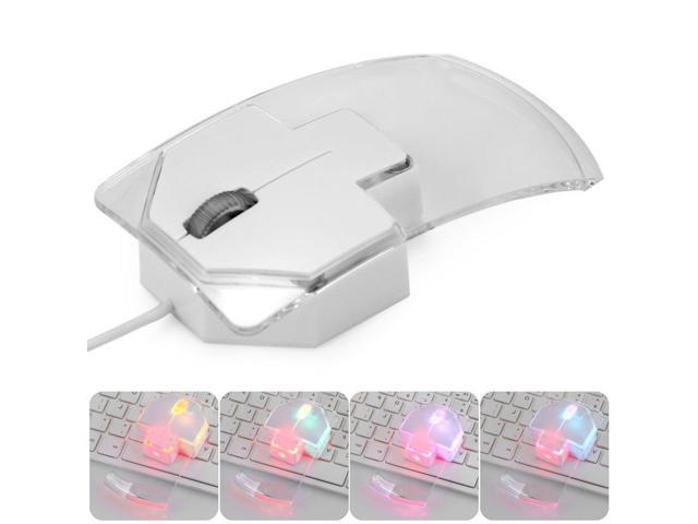 W19 Three Buttons Crystal Wired Gaming Mouse with 7 Color Breath LED Lights