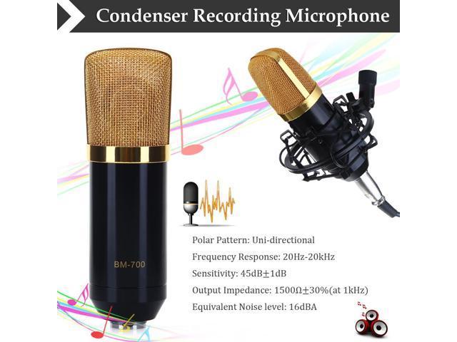 Condenser Microphone Recording Mic with Shock Mount BM-700 Black