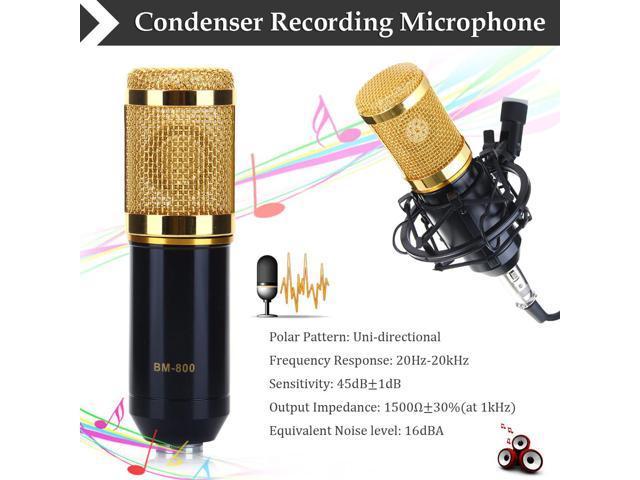 Condenser Microphone Recording Mic with Shock Mount BM-800 Black