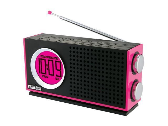 Realtone 1967 Portable AM/FM Clock Radio MP3 - Pink #zCM