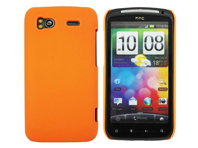 Kit Me Out US Hard Clip-on Case + Screen Protector with MicroFibre Cleaning Cloth for HTC Sensation /Sensation XE - Orange Smooth Touch Textured