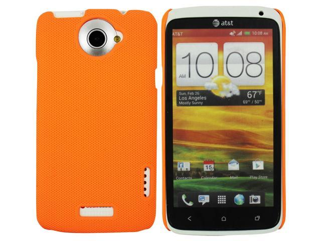 Kit Me Out US Hard Clip-on Case + Screen Protector with MicroFibre Cleaning Cloth for HTC One X - Orange Smooth Touch Textured