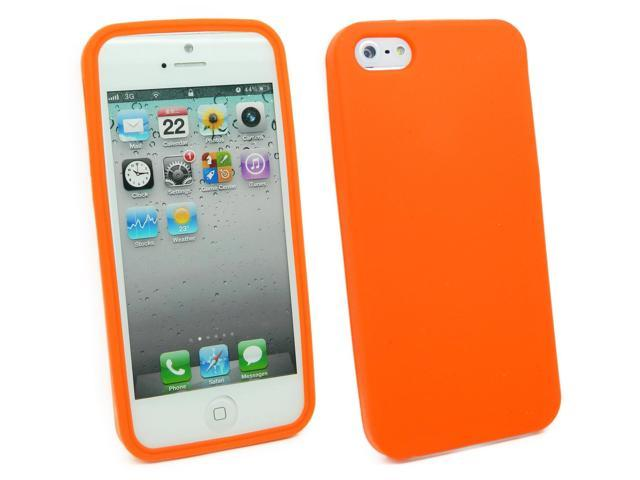 Kit Me Out USA Silicon Skin + Screen Protector with MicroFibre Cleaning Cloth for Apple iPhone 5/5G 5S - Orange