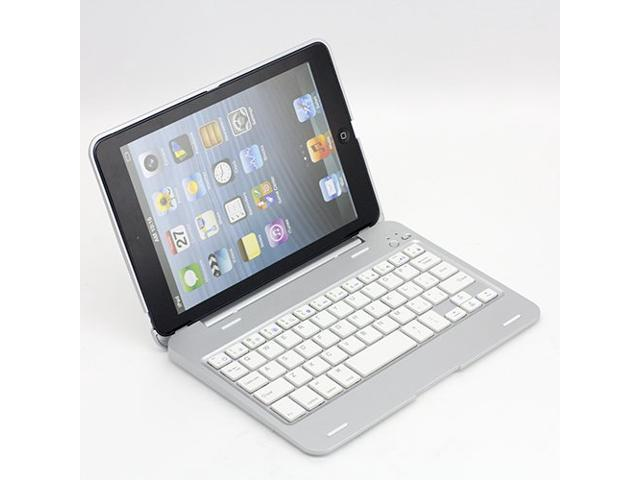 KABB 135 Rotating Angle Wireless Bluetooth Keyboard Case Cover Stand Combo for Apple iPad Mini Aluminum Modern Silver Style