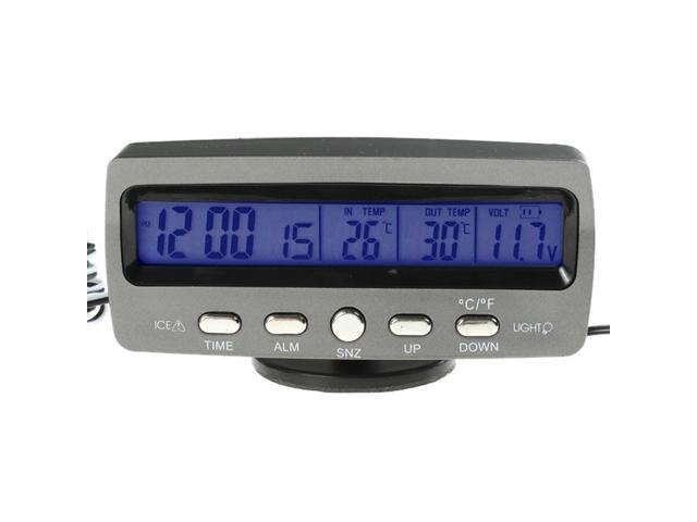 Car LCD Alarm Temperature Thermometer Voltage Monitor Time Clock