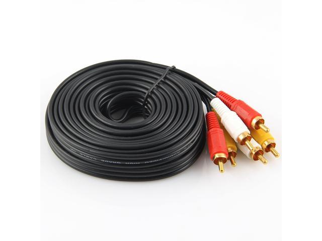 5m Gold Plated Plug 3 RCA to 3 Male RCA AV Cable Black