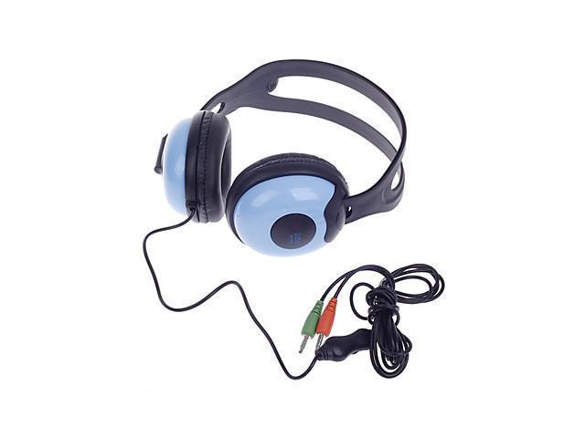 SunRose H702 Stereo Headphones w/ Mic + Volume Control - Black + Blue (3.5mm Plug / 220cm-Cable)